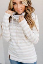 Load image into Gallery viewer, cream stripe cowl neck sweatshirt