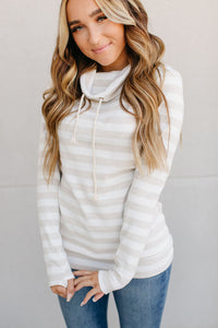 cream stripe cowl neck sweatshirt