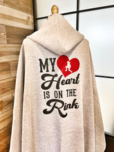 Load image into Gallery viewer, My Heart is on the Rink Hooded Sweatshirt Fleece Blanket