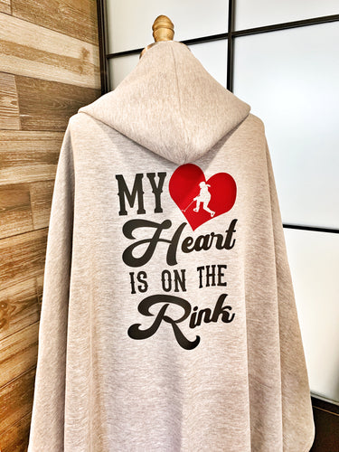 My Heart is on the Rink Hooded Sweatshirt Fleece Blanket