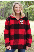 Load image into Gallery viewer, Ringette Ontario Buffalo Plaid Youth Sherpa Pull Over