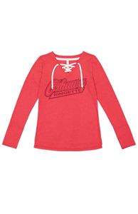 Oshawa Ringette Victory V neck Lace Up Long Sleeve Top