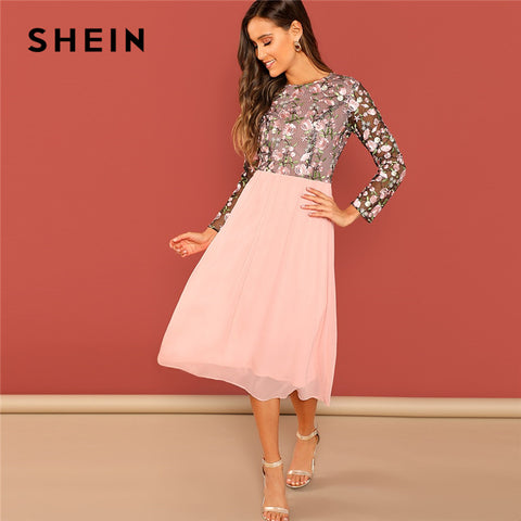 d7233bc8f706 SHEIN Going Out Pink Flower Embroidered Contrast Mesh Bodice Round Neck  High Waist Dress Women A