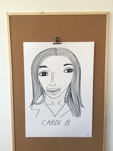 Badly Drawn Cardi B - Original Drawing - A2.