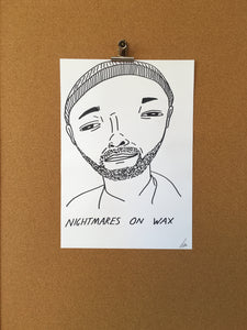 Badly Drawn Nightmares on Wax - Original Drawing - A3.