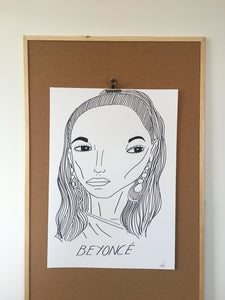 Badly Drawn Beyonce - Original Drawing - A2