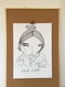 Badly Drawn Dua Lipa - Original Drawing - A2.