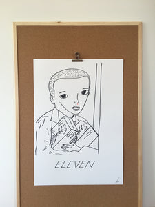 Badly Drawn Eleven from Stranger Things - Original Drawing - A2.