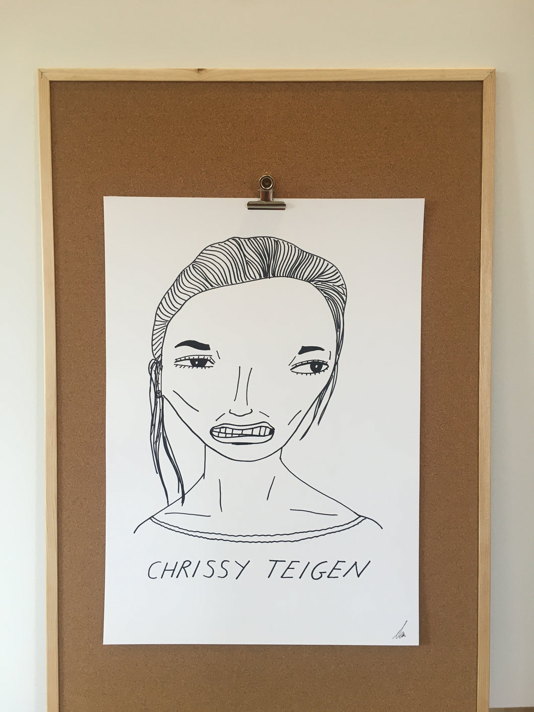 Badly Drawn Chrissy Teigen - Original Drawing - A2.