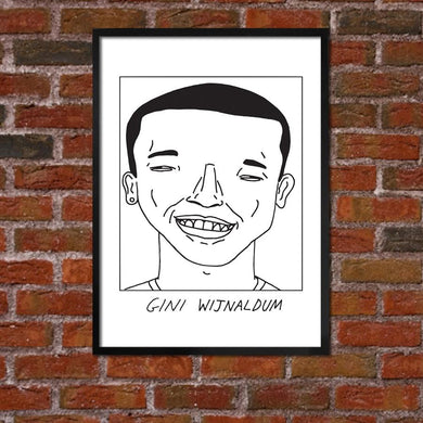 Badly Drawn Gini Wijnaldum - Liverpool F.C. Premier League Champions - Poster