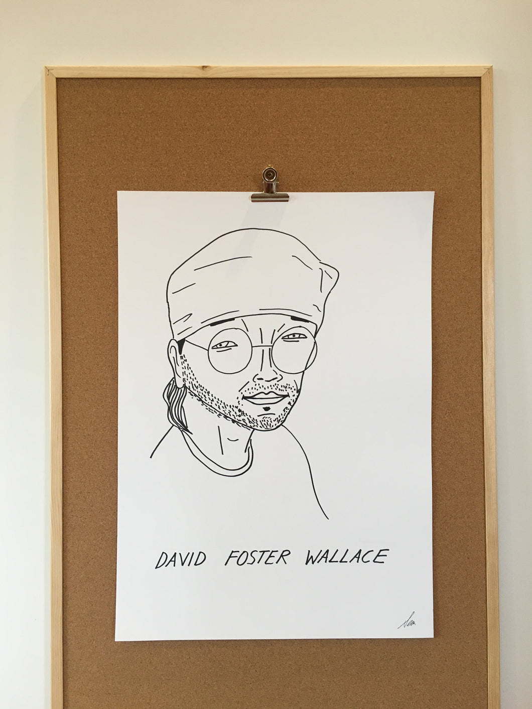 Badly Drawn David Foster Wallace  - Original Drawing - A2.