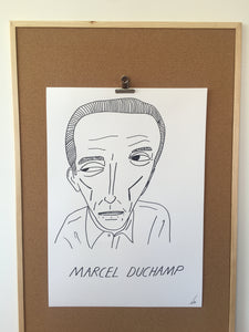 Badly Drawn Marcel Duchamp - Original Drawing - A2.