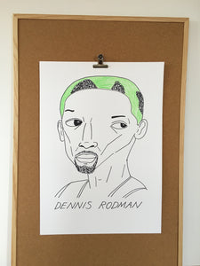 SOLD OUT - Badly Drawn Dennis Rodman - Original Drawing - A2
