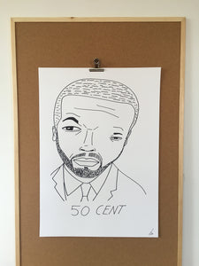 Badly Drawn 50 Cent - Original Drawing - A2.