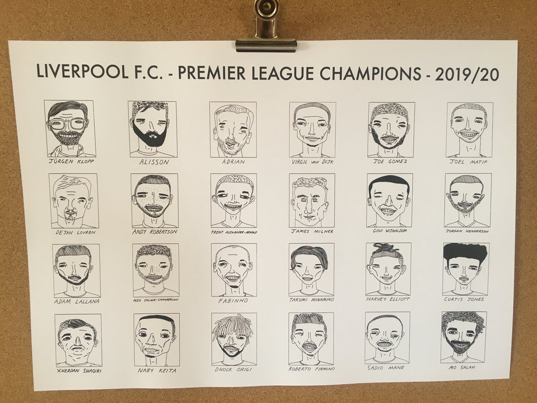 Liverpool F.C. - Premier League Champions 2019/20 - A3 - Free Shipping