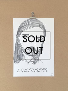 SOLD - Badly Drawn Lovefingers - Original Drawing - A3.