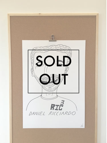 SOLD OUT - Badly Drawn Daniel Ricciardo - Original Drawing - A2.