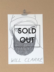 SOLD - Badly Drawn Will Clarke - Original Drawing - A3.