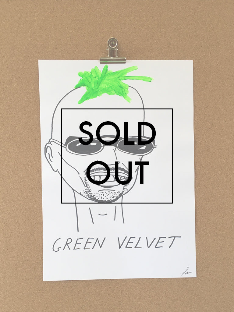 SOLD OUT - Badly Drawn Green Velvet - Original Drawing - A3.
