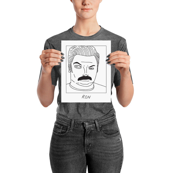 Badly Drawn Ron Swanson - Parks and Rec - Poster