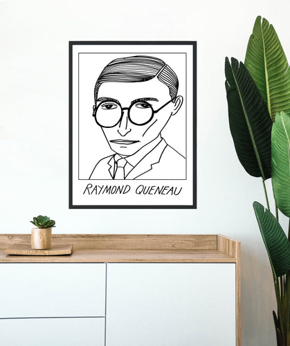 Badly Drawn Raymond Queneau - Poster - BUY 2 GET 3RD FREE ON ALL PRINTS