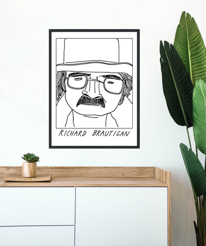 Badly Drawn Richard Brautigan - Poster - BUY 2 GET 3RD FREE ON ALL PRINTS