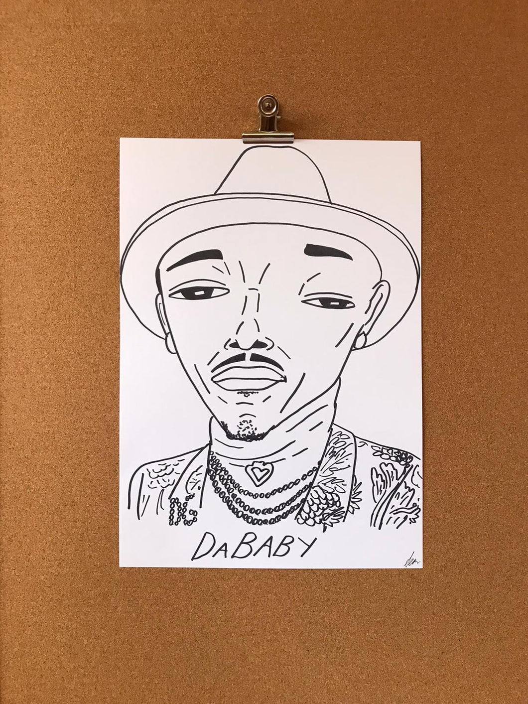 Badly Drawn Celebs - DaBaby - Grammys 2021 (Original Artwork - A3)