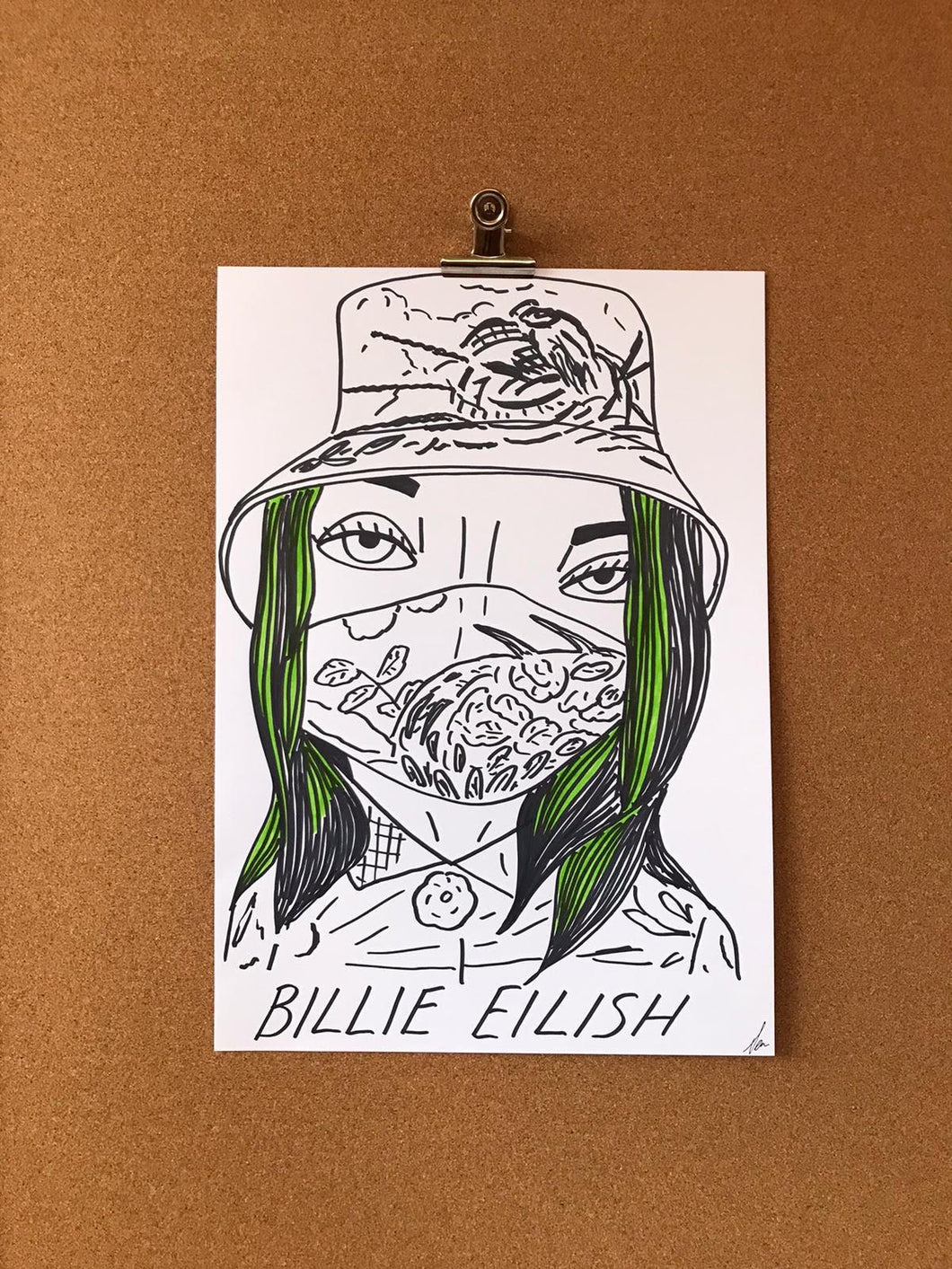 Badly Drawn Celebs - Billie Eilish - Grammys 2021 (Original Artwork - A3)