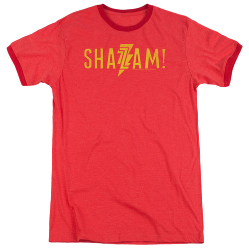 Shazam Movie! Flat Logo Heather Ringer T-shirt