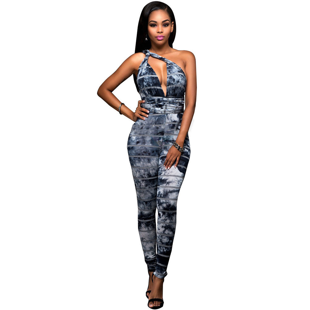 f232434dfac Sexy Women Bodycon Jumpsuit Vintage Striped Sleeveless Deep V Halter  Backless One Piece Playsuit Rompers Catsuit Blue White