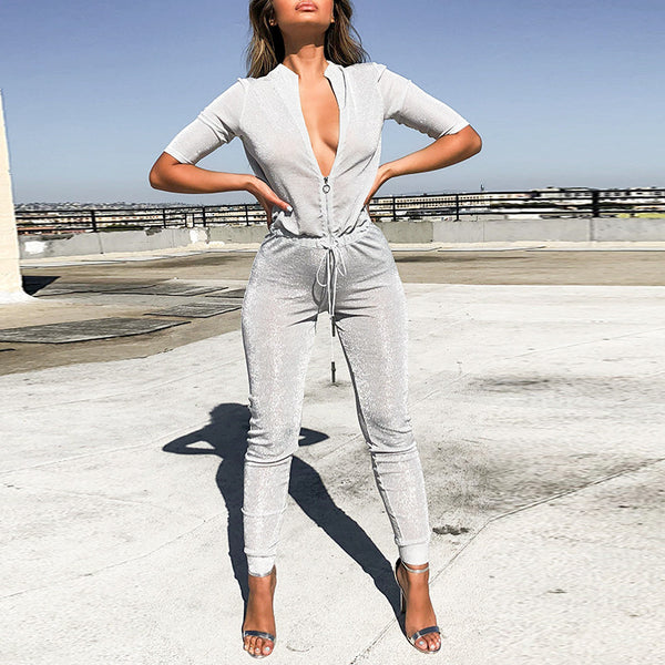 5cf897ece3 Glamaker Lurex deep v neck half sleeve jumpsuit Women winter fitness female  sexy jumpsuits rompers elastic
