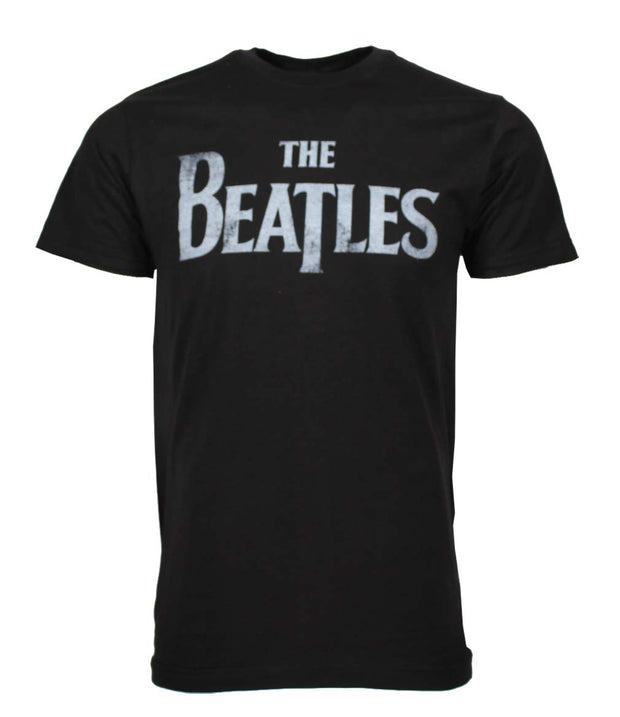 Beatles Distressed Logo Black T-Shirt