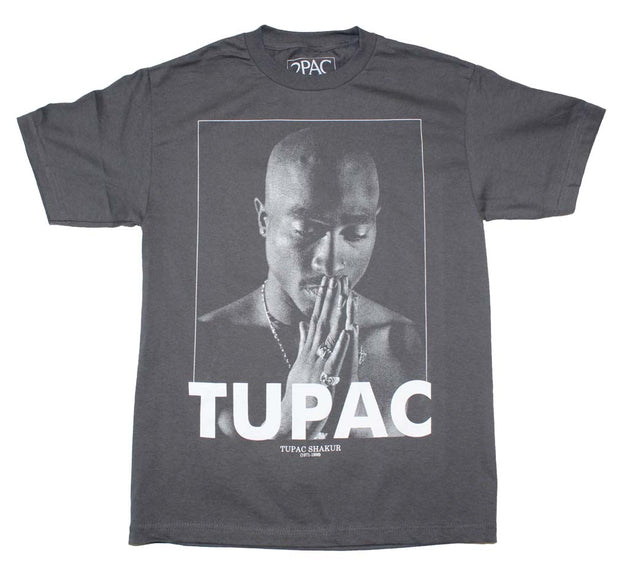 Tupac Praying Charcoal T-Shirt | Rockteez Apparel