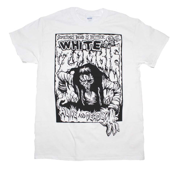 White Zombie Alive and Deadly White T-Shirt | Rockteez Apparel