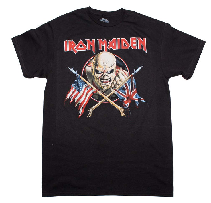 Iron Maiden Crossed Flags T-Shirt - Rockteez Apparel