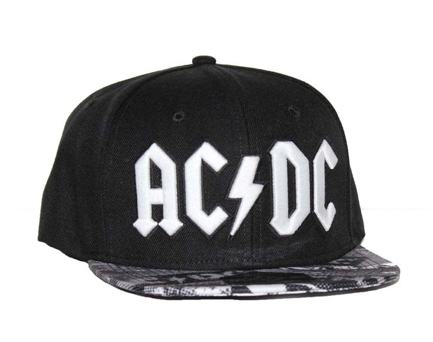 AC/DC Black Wool Blend Flat Bill Hat with Sublimated Visor - Rockteez Apparel