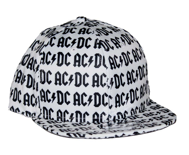 AC/DC All Over Logo Flat Bill Snapback Hat - Rockteez Apparel