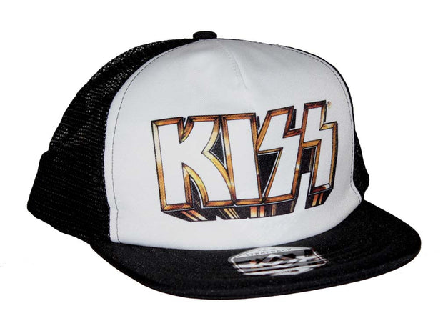 KISS Gold Logo Snapback Trucker Hat - Rockteez Apparel