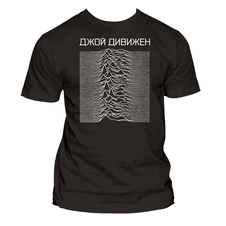 Joy Division Unknown Pleasures Cyrillic Exclusive T-Shirt - Rockteez Apparel