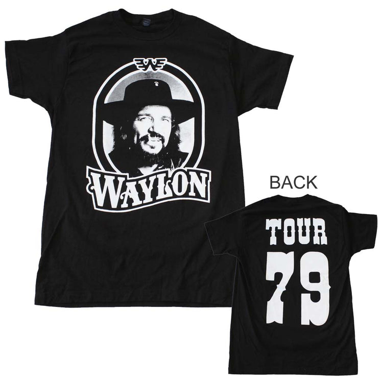 Waylon Jennings Tour 79 Black T-Shirt | Rockteez Apparel