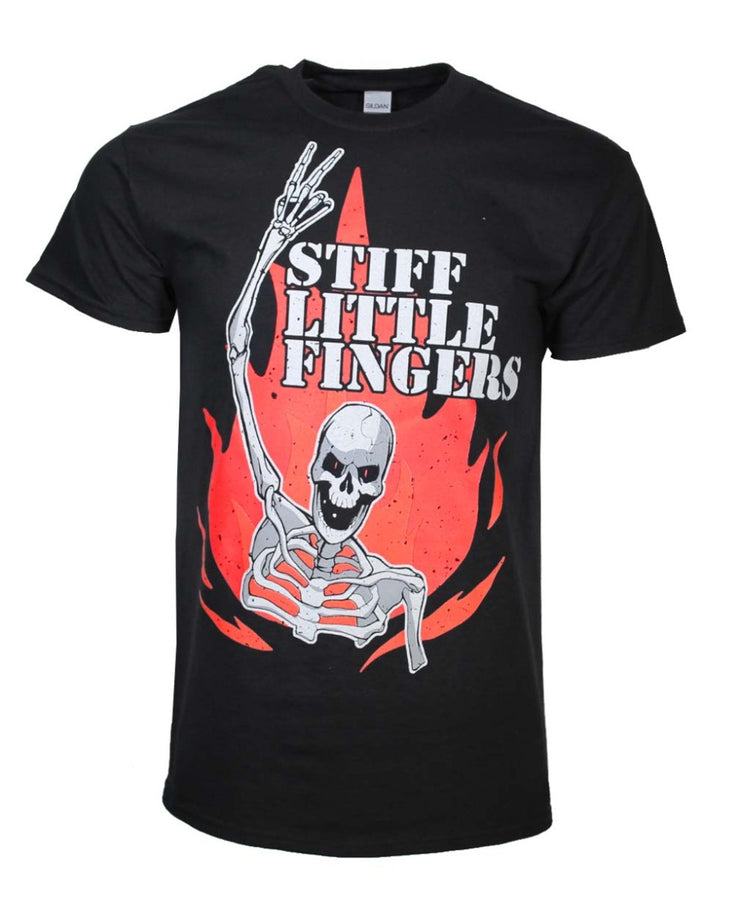 Stiff Little Fingers Skeleton Flame T-Shirt