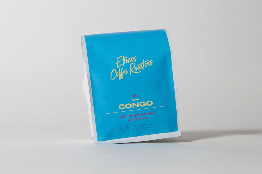 Ethnos coffee roasters congo light roasted coffee bag