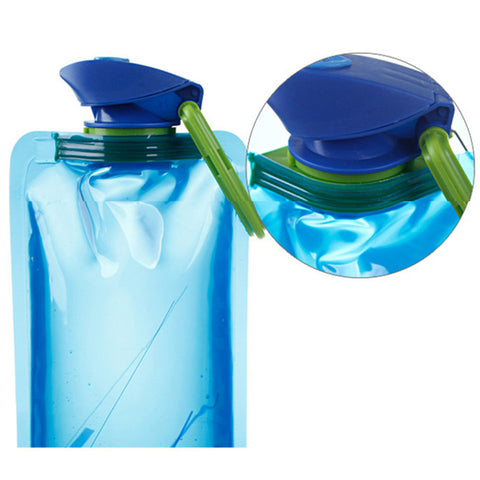 Foldable Blue Color Drinking Sports Bottles Outdoor Hiking Camping Water