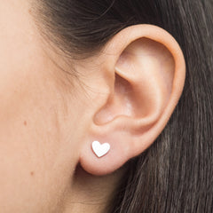 Heart Stud Earring in Sterling Silver or Brass by Camillette Jewelry