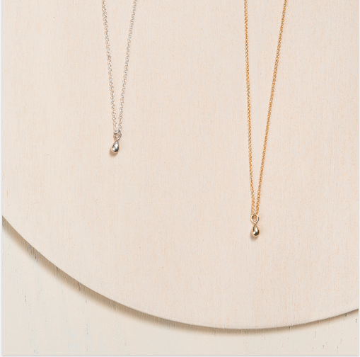 Delicate 10k white and yellow gold teardrop necklace handmade in Canada
