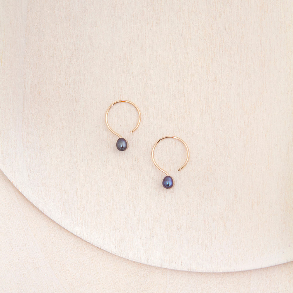 Small 13mm Gold Filled Hoop Earrings with Black Tahiti Pearl Handmade in Canada