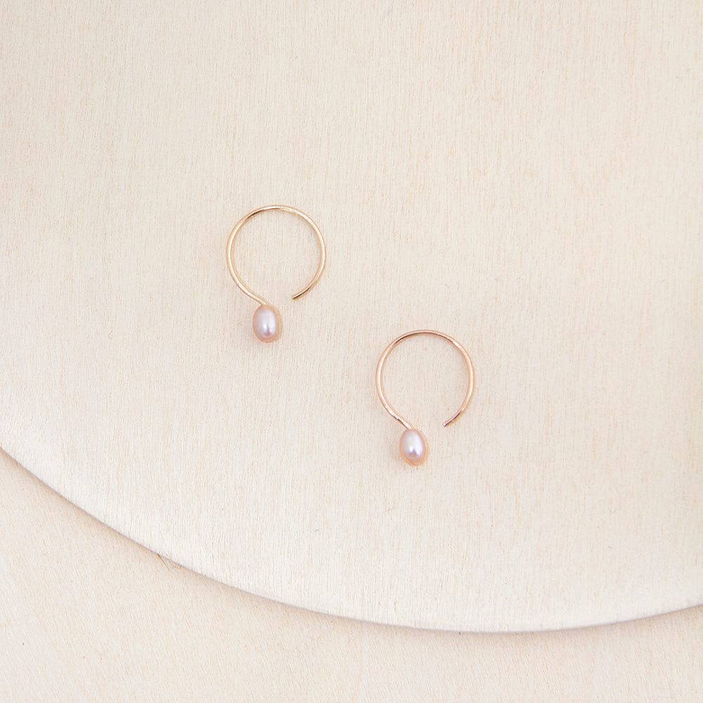 Tiny Gold Hoop Earrings with Pink Cultured Freshwater Pearl Handcrafted by Camillette