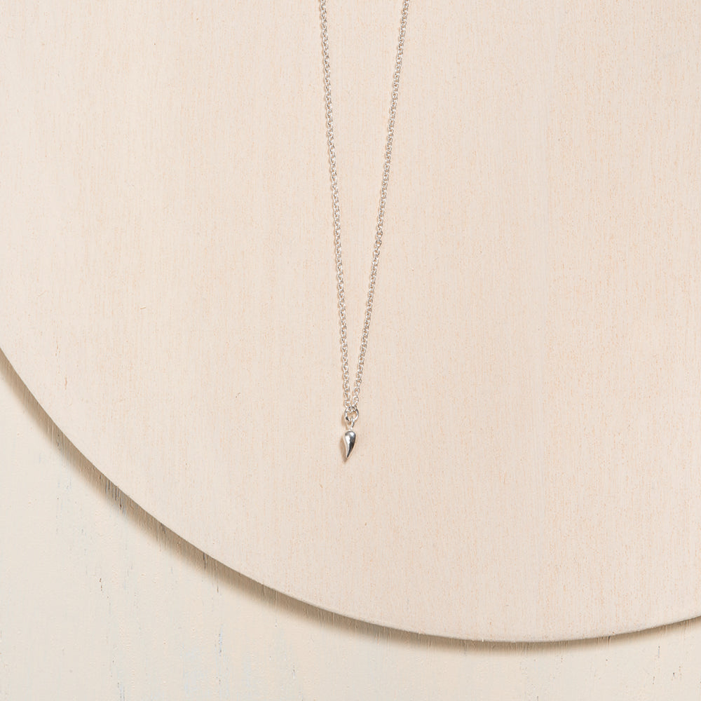 Delicate Italian Horn Pendant Necklace in Silver by Camillette
