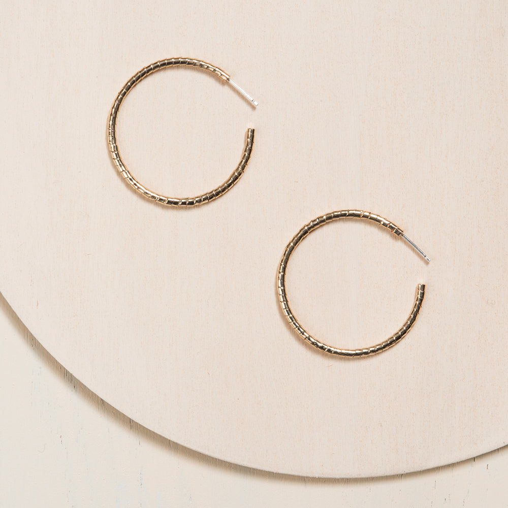 Cable Hoop Earrings in yellow bronze by Camillette
