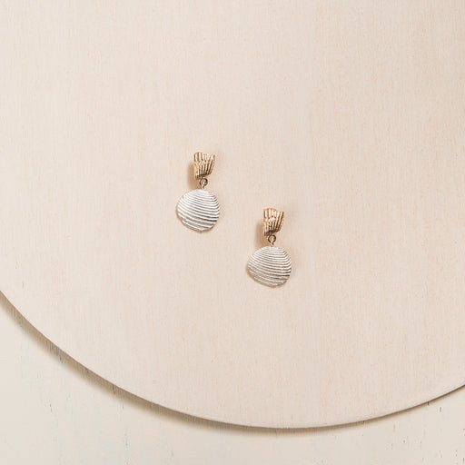 Seashell Drop Earrings in 14k Yellow Gold and Silver Handmade in Montreal